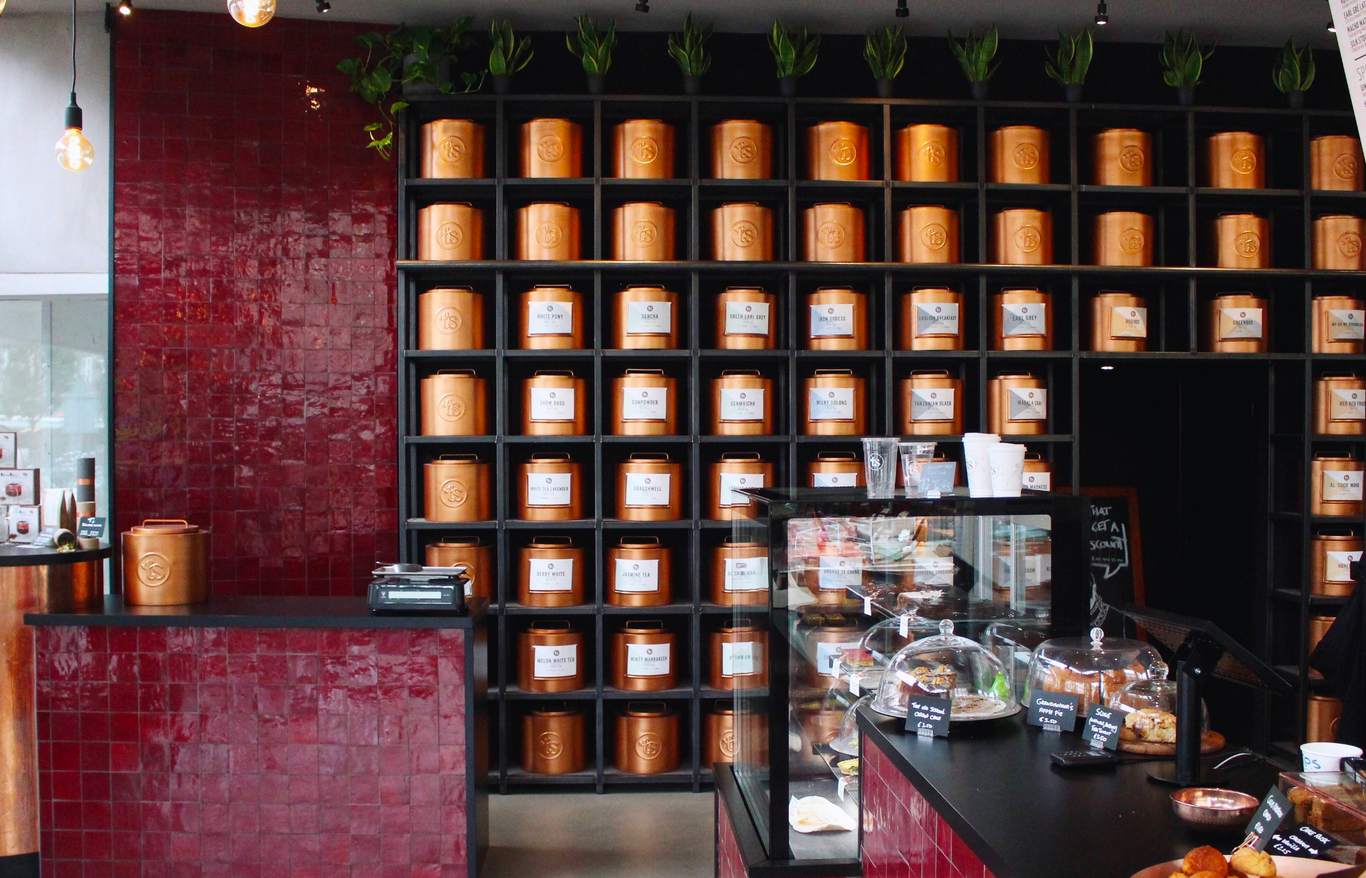 Photography of the interior of T's Tea Bar, Amsterdam