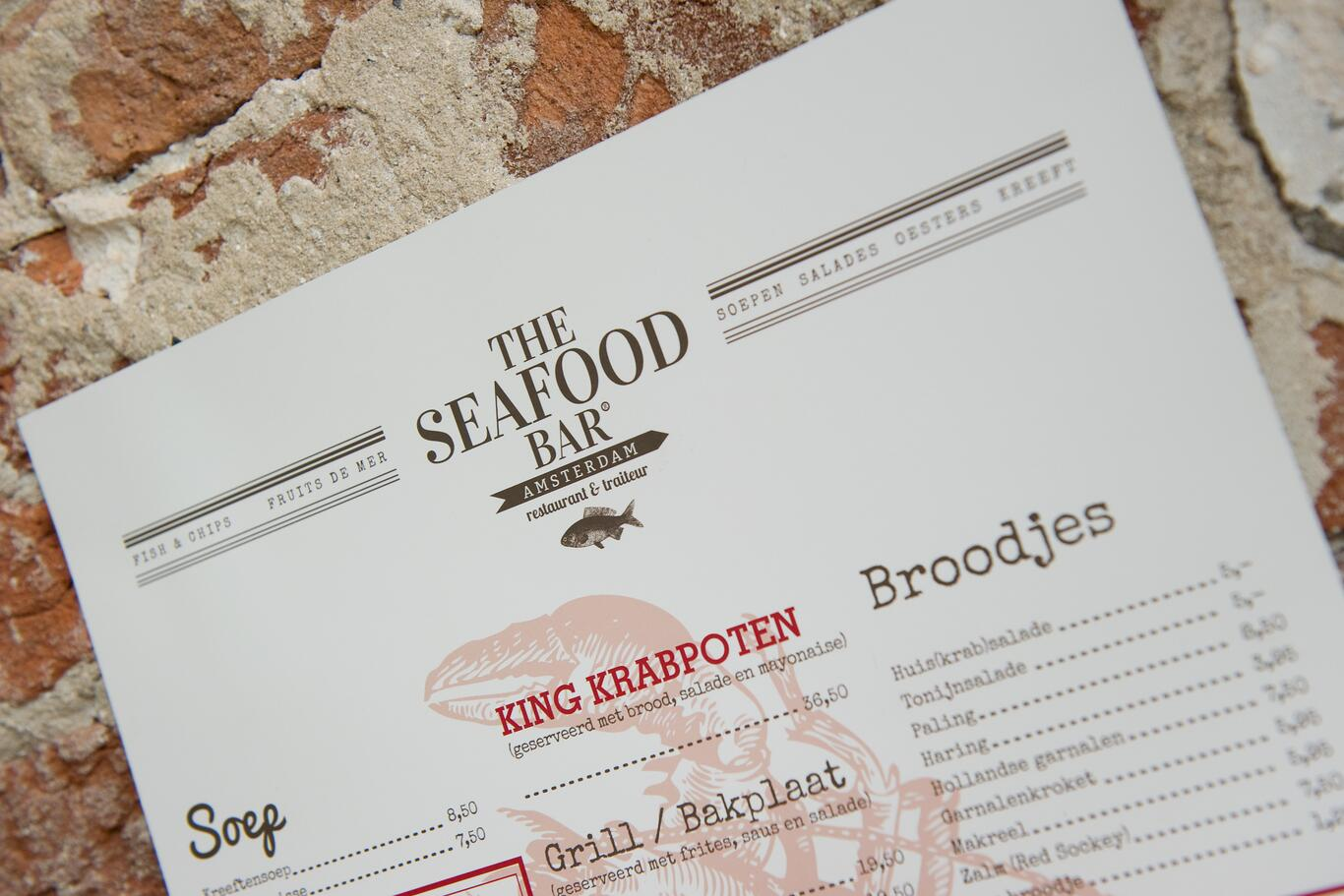 Menu design for the Seafood bar, Amsterdam
