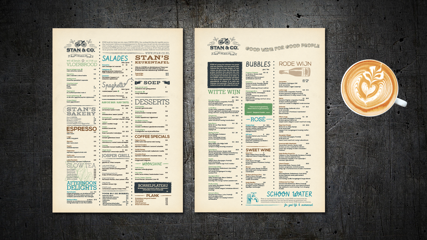 Menu Design for Stan&Co, Utrecht