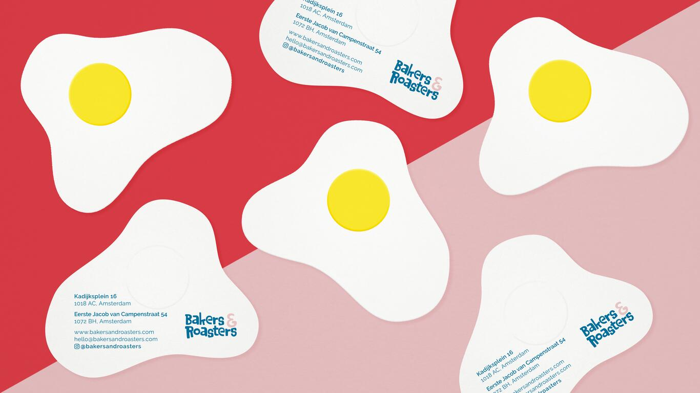 Eggs looking business cards for Bakers & Roasters