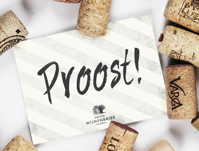 Proost card design for Westerwijn Fabriek, Amsterdam