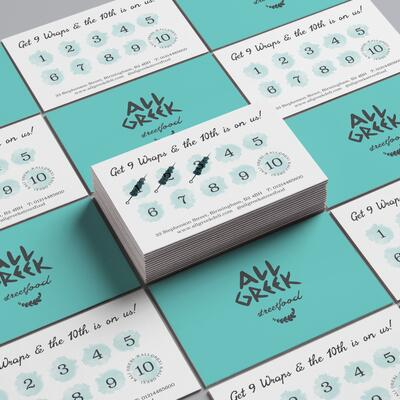 Business and loyalty cards for All Greek Streetfood, Birmingham