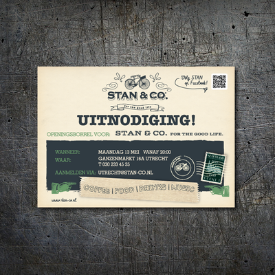 Invitation design for Stan&Co, Utrecht