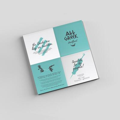 Menu design for All Greek Streetfood, Birmingham