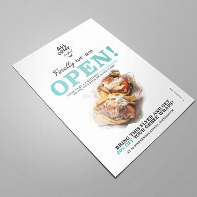 Flyer design for All Greek Streetfood, Birmingham